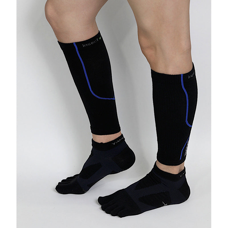 Complete Protection Calf Sleeves With Compression Support & Insect Shield® Black Blue