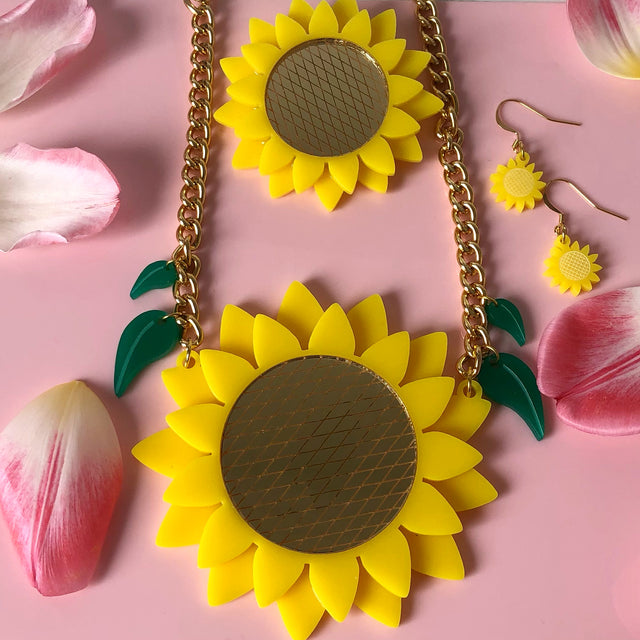 Bright yellow acrylic sunflower jewellery welcomes you to the Bonnie Bling homepage.