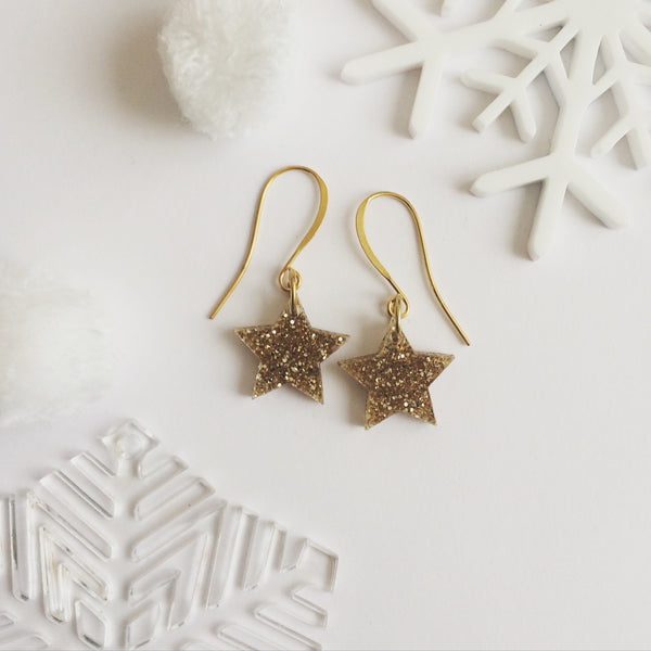 Gold Glitter Acrylic Star Earrings
