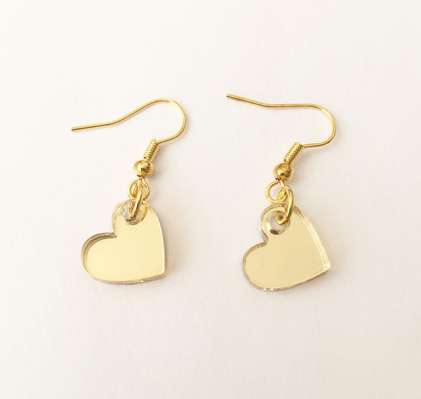 Shiny Gold Heart Earrings