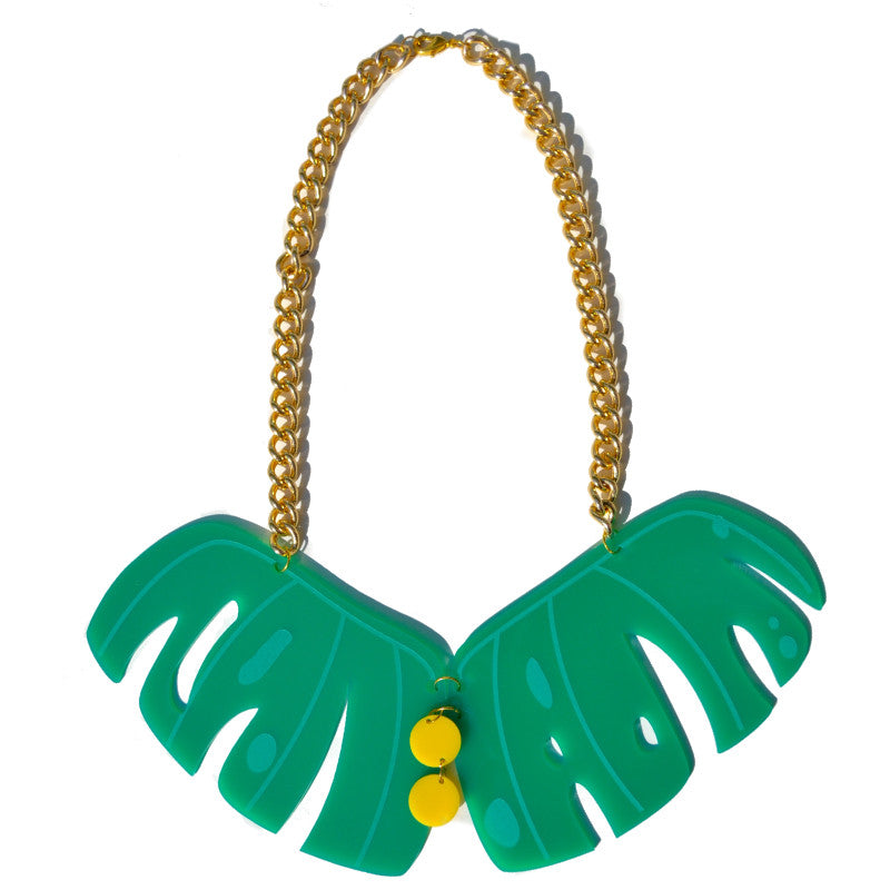 Retro Cheese Plant Leaf Necklace - Large