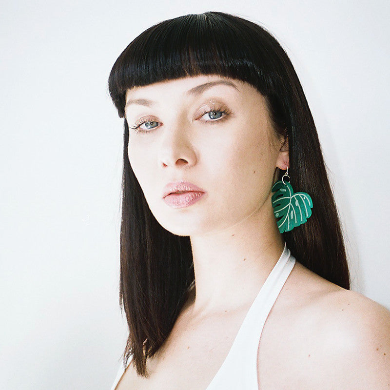 Retro Cheese Plant Green Acrylic Earrings