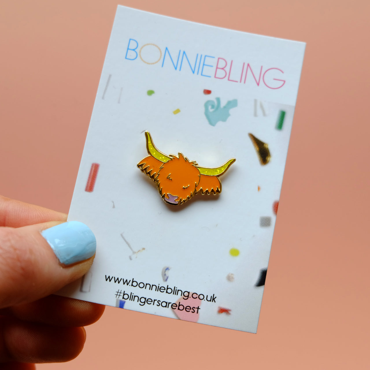 Glitter Highland Cow Enamel Pin Badge