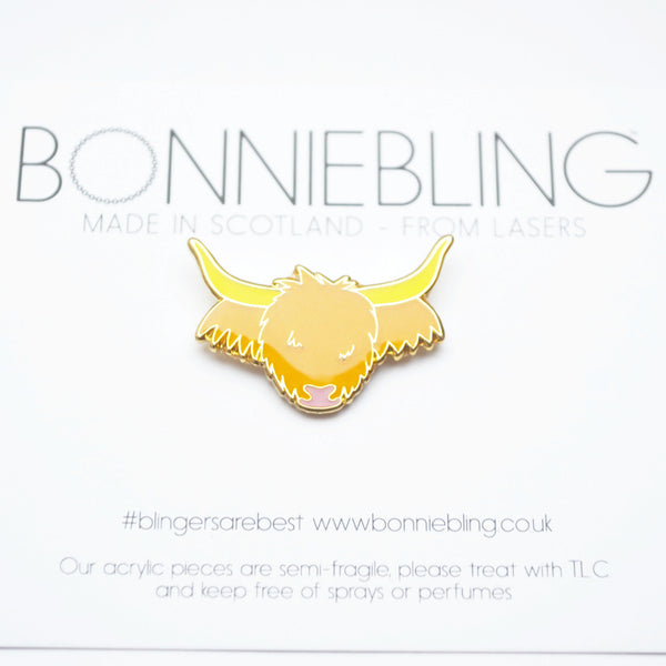 Highland Cow Enamel Pin Badge