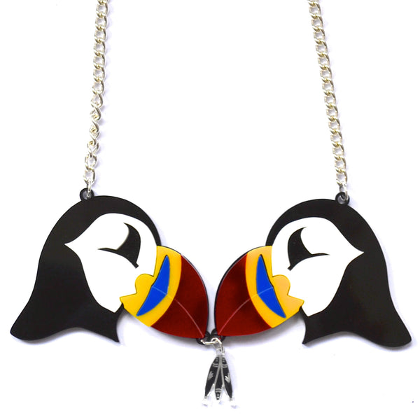Pair of Puffins Necklace