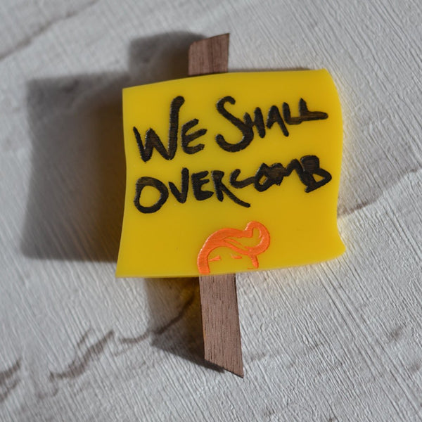 We Shall Overcomb -Mini Protest Sign Brooch badge