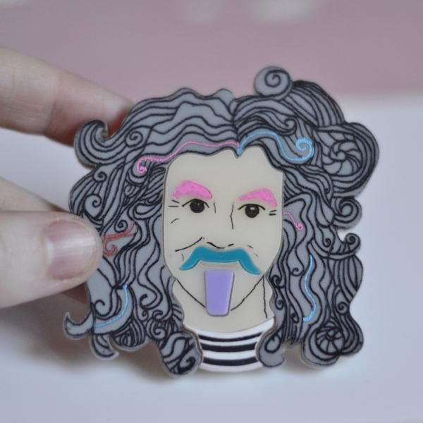 Billy Connolly, Hand Painted, Acrylic Brooch