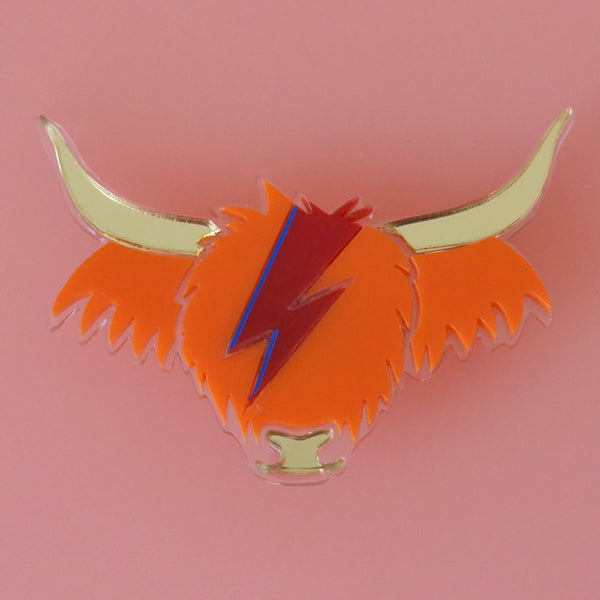 David Cowie Highland Cow Brooch - Orange and Gold