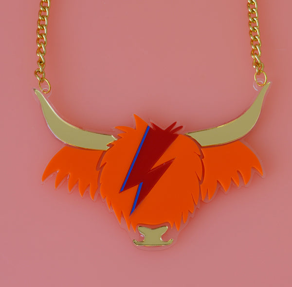 David Cowie Highland Cow Necklace - Orange and Gold