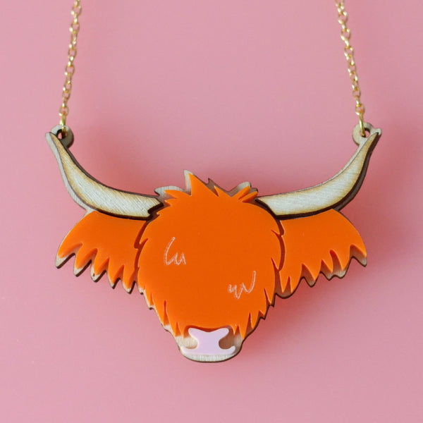 Ecoo-Friendly Wee Highland Cow Necklace