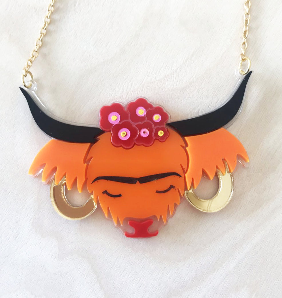 Frida Cowhlo Highland Cow Necklace