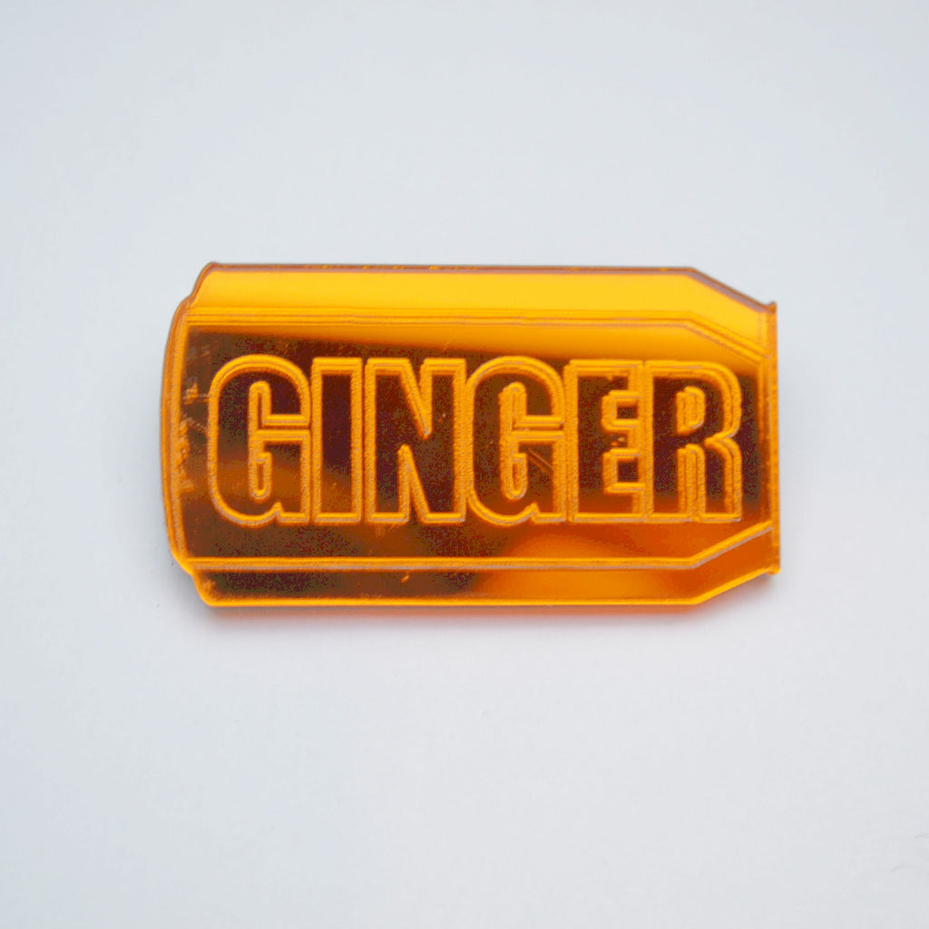 Mirrored Acrylic Scottish Ginger Can badge