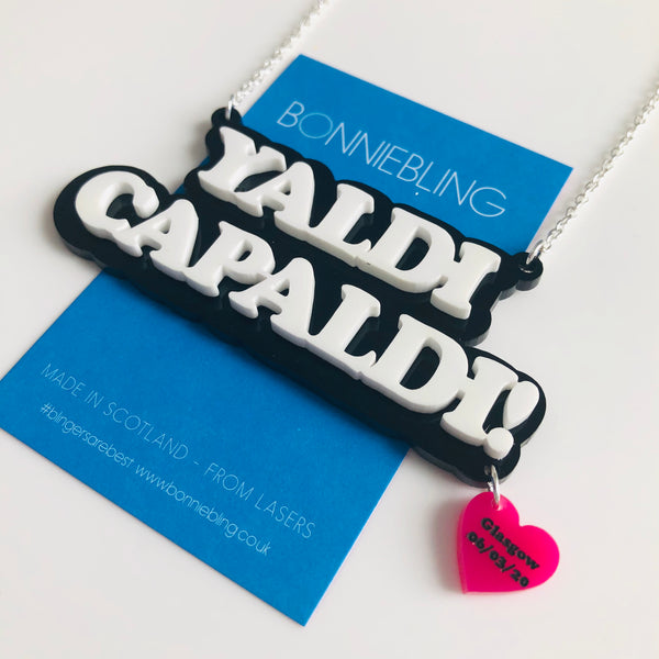 Yaldi Capaldi Necklace - With Glasgow Concert Date Heart Charm
