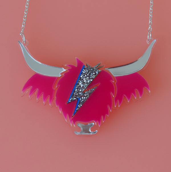 David Cowie Highland Cow Necklace - Pink and Silver Glitter