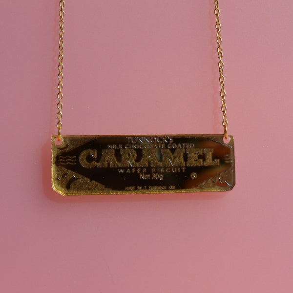 Tunnock's Caramel Wafer Gold Acrylic Necklace
