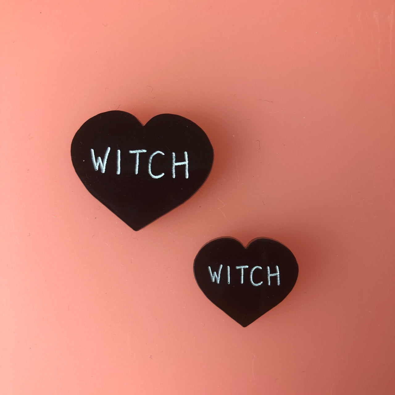Black Heart Witch Halloween Pins