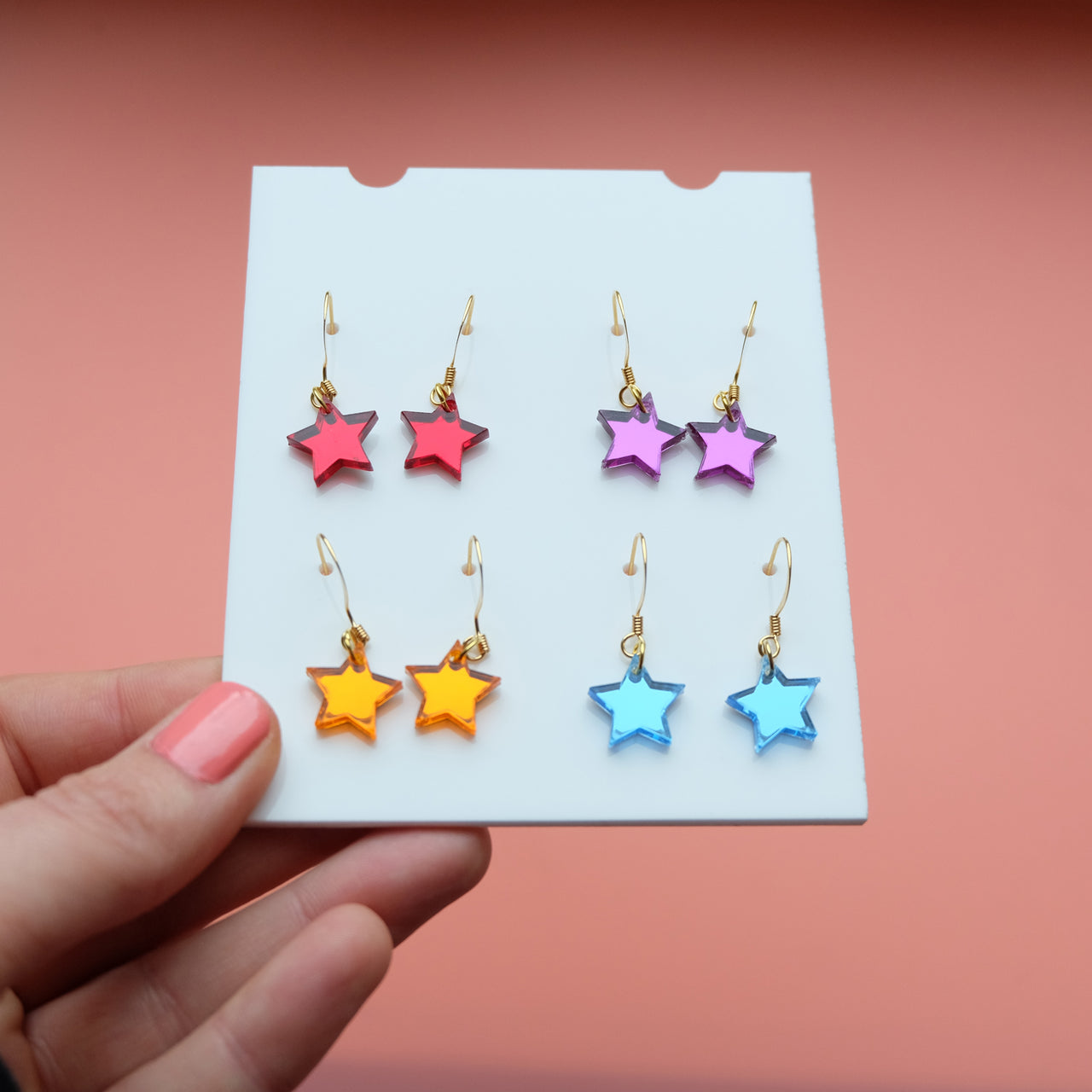 Barrowland Mirror Star Drop and Stud Earrings