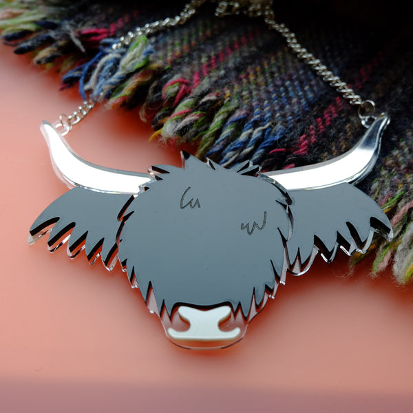 Big Cow - Black Highland Cow Statement Necklace