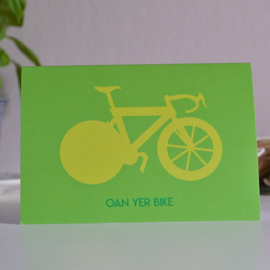 Oan Yer Bike Scottish Card featuring Chris Hoy's Bicycle