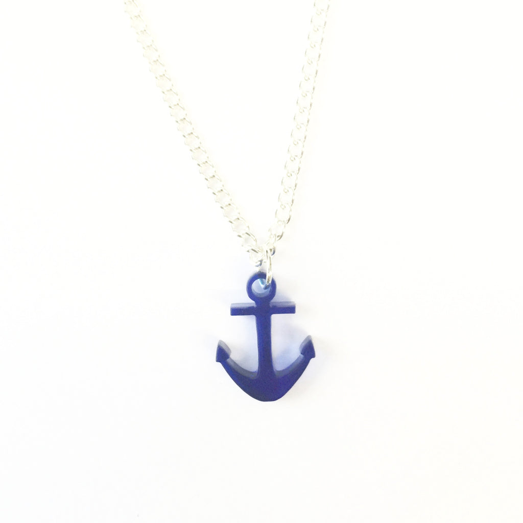 Small Blue Acrylic Anchor Necklace