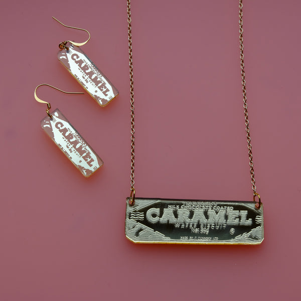 Tunnock's Caramel Wafer Gold Acrylic Necklace and Earring Set