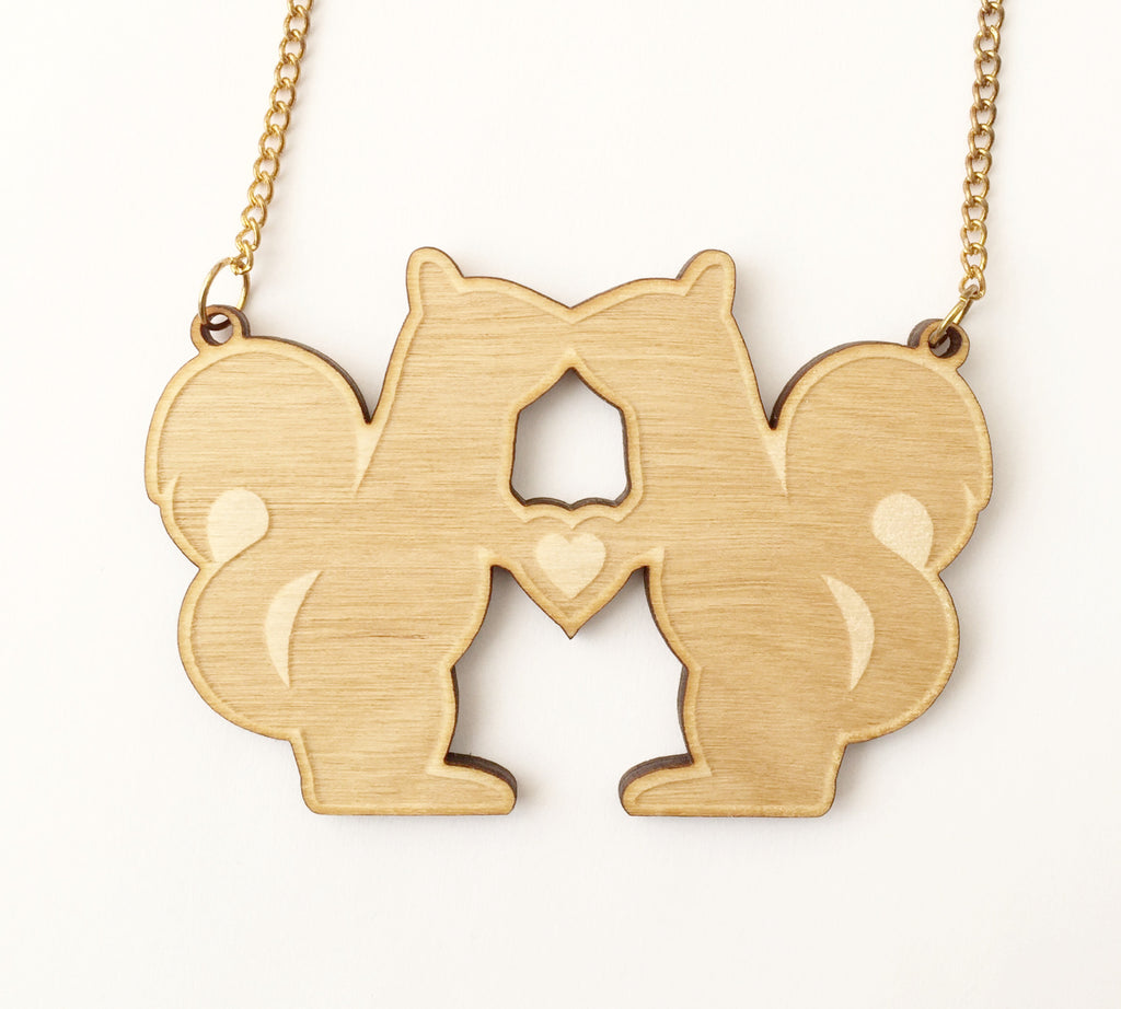 Wooden Kissing Squirrel Necklace