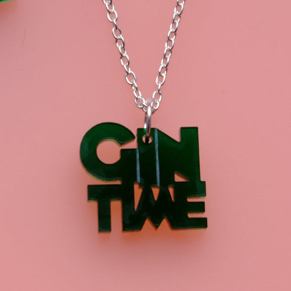 Gin Time Green Acrylic Necklace