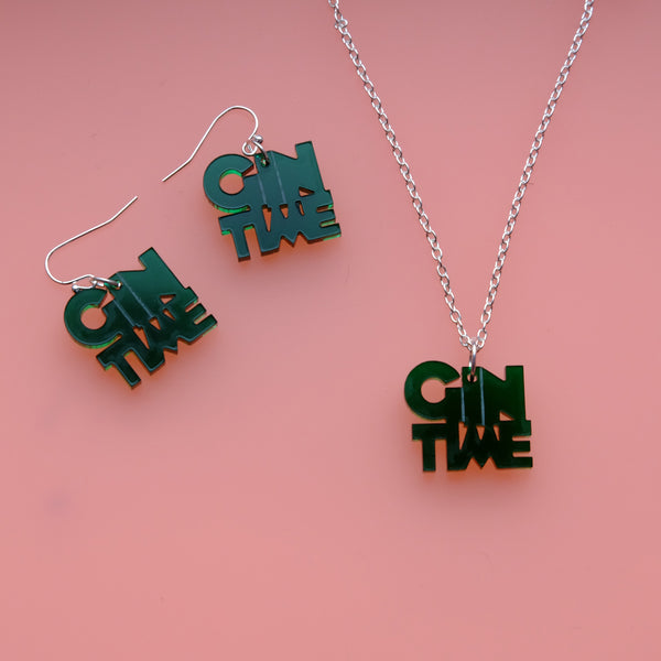 Mini Gin Time Green Acrylic Necklace and Drop Earring Gift Set