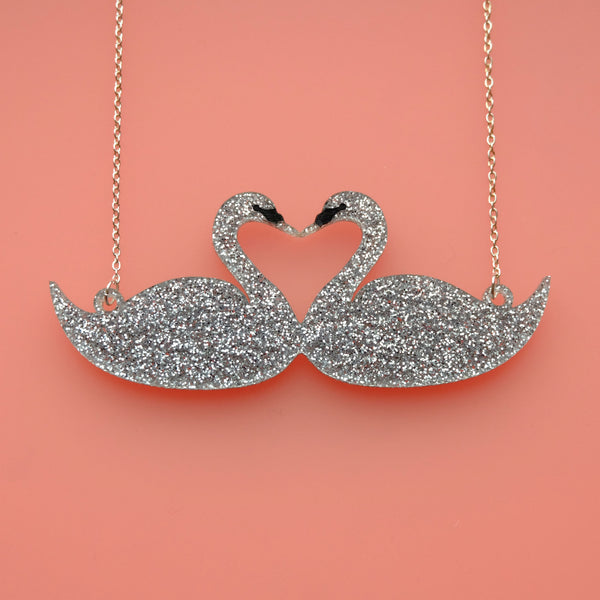 LIMITED EDITION Silver Glitter Swan Necklace