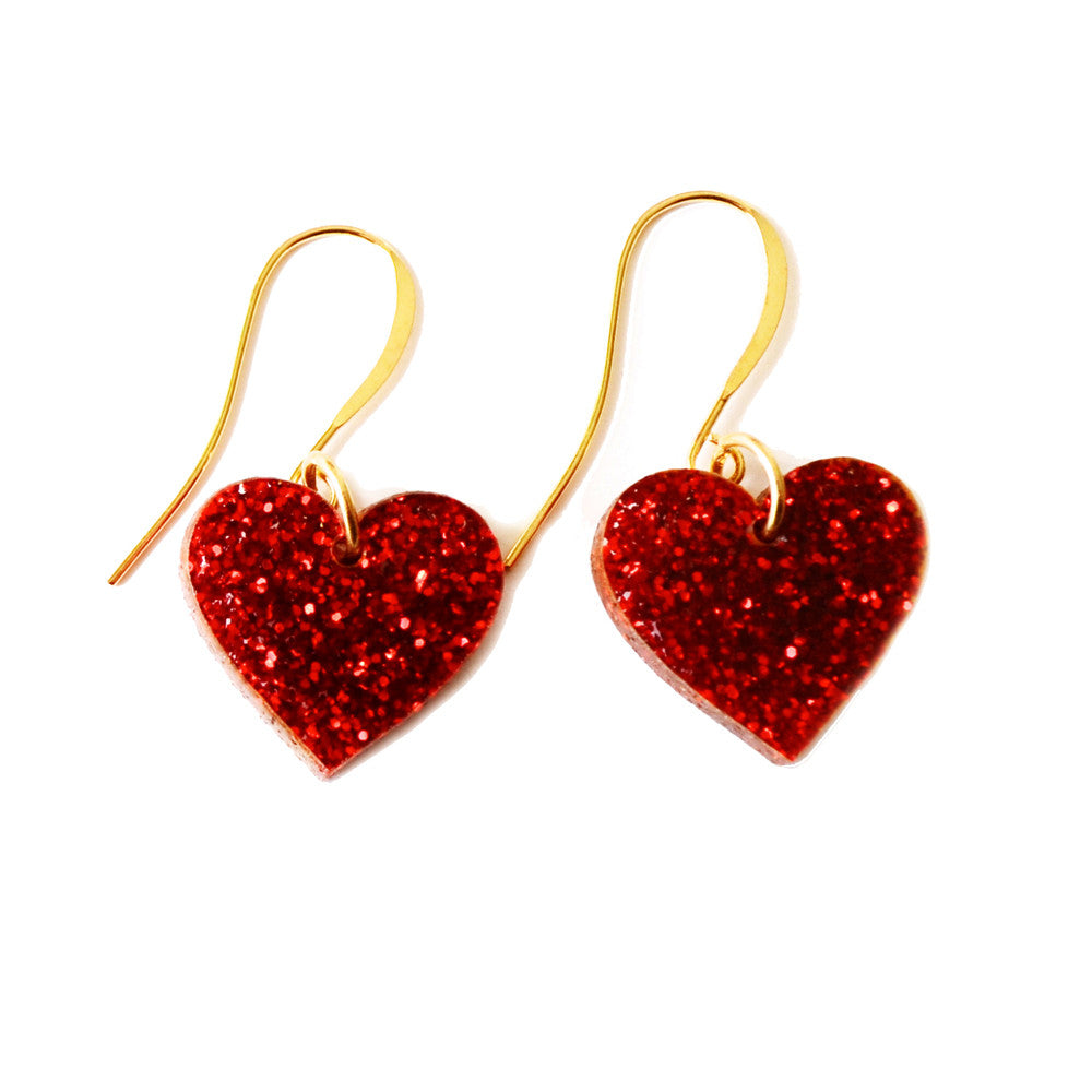 Glitter Heart Acrylic Earrings