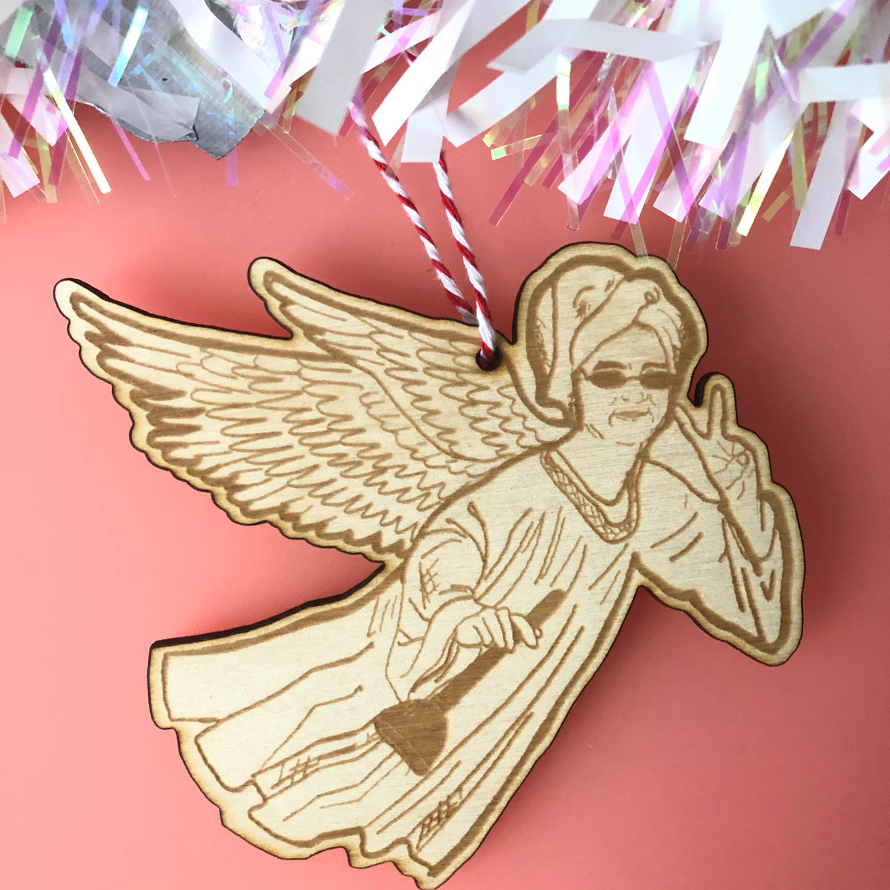 Lewis Capaldi Angel Wooden Hanging Christmas Tree Decoration
