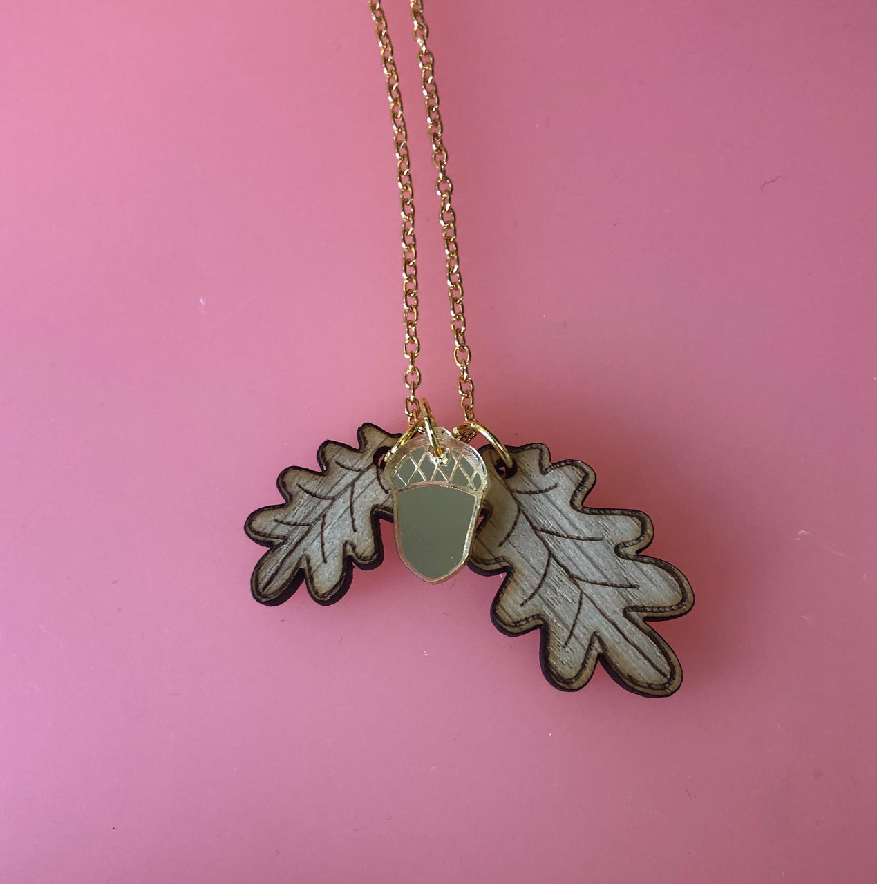 Acorn and Oak Leaf Charm Necklace