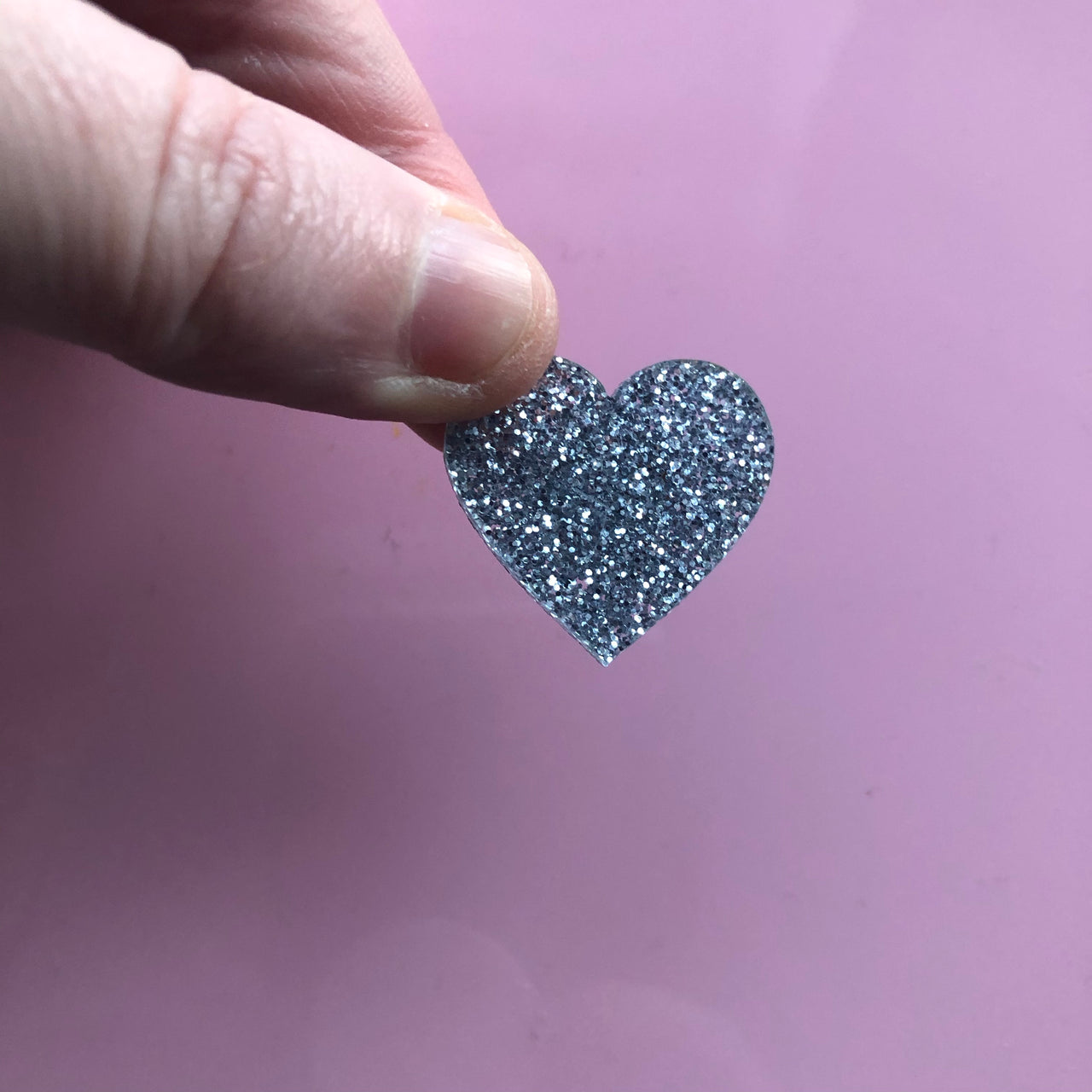 SAMPLE Silver Glitter Heart Pin Badge