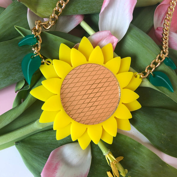 Sunflower Necklace - Statement Acrylic Necklace