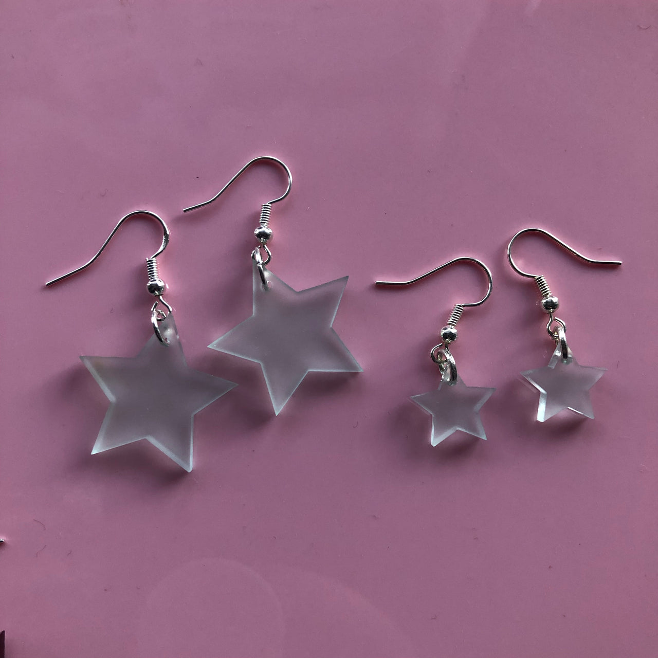 SALE Frosted Star Earrings
