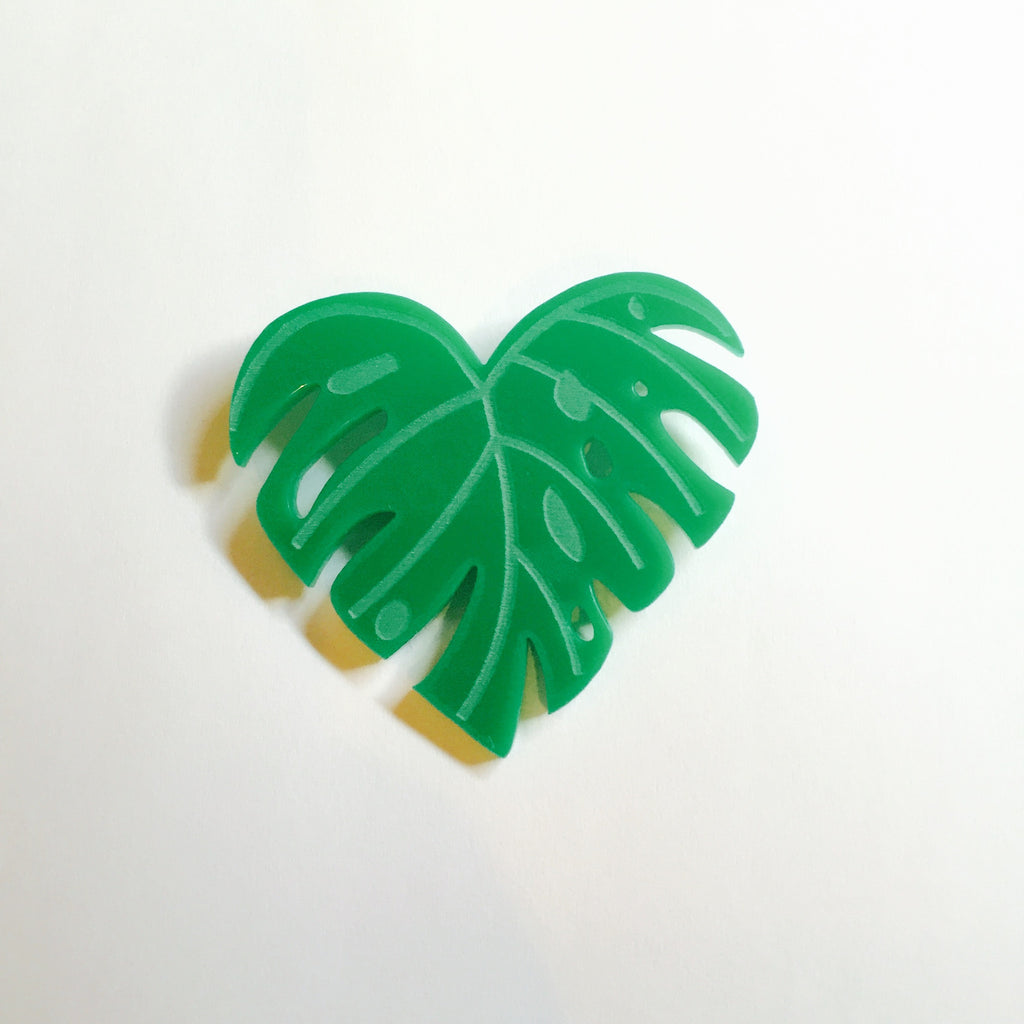 Retro Cheese Plant Green Acrylic Brooch