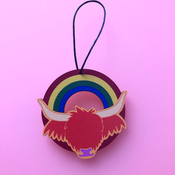 Highland Cow Wooden Decoration with Rainbow