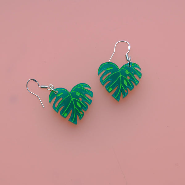 MINI CHEESE PLANT MONSTERA LEAF DROP EARRINGS