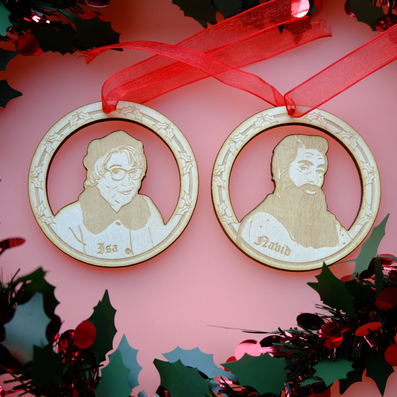 Set of Still Game Wooden Christmas Decorations