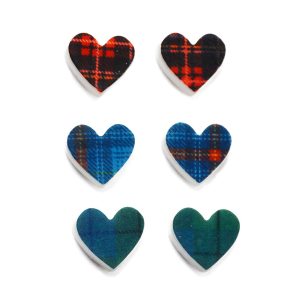 Scottish Tartan Acrylic Heart Earrings