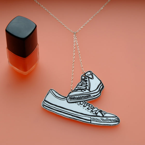 Trainers on a Telephone Wire - Hand Painted Acrylic Necklace