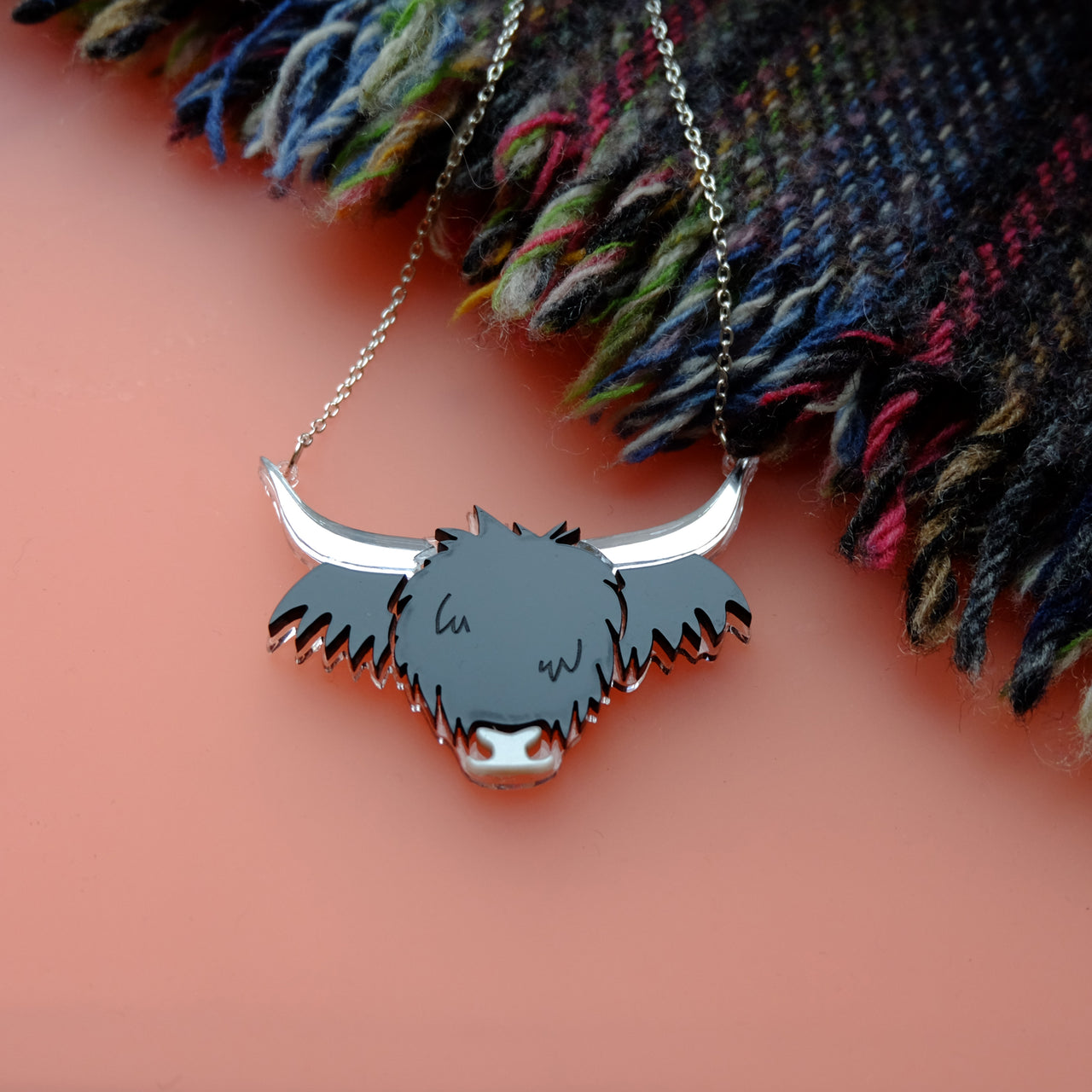 Wee Cow - Black Highland Cow Acrylic Necklace