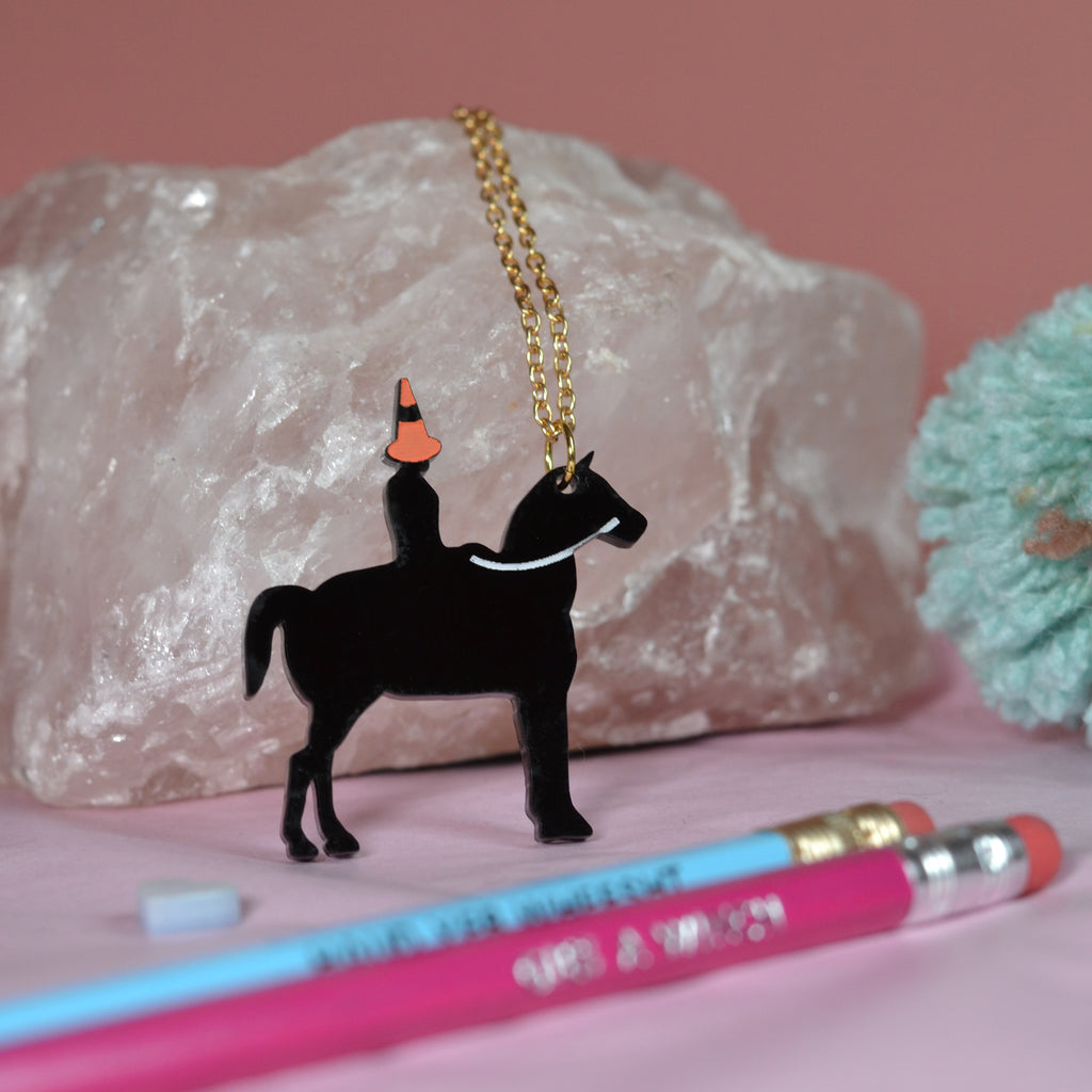 Wee Duke of Wellington with Traffic Cone Necklace