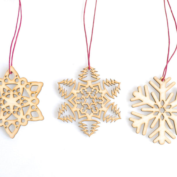 Wooden Snowflake Decorations - Set of Three laser cut Christmas Tree Decorations