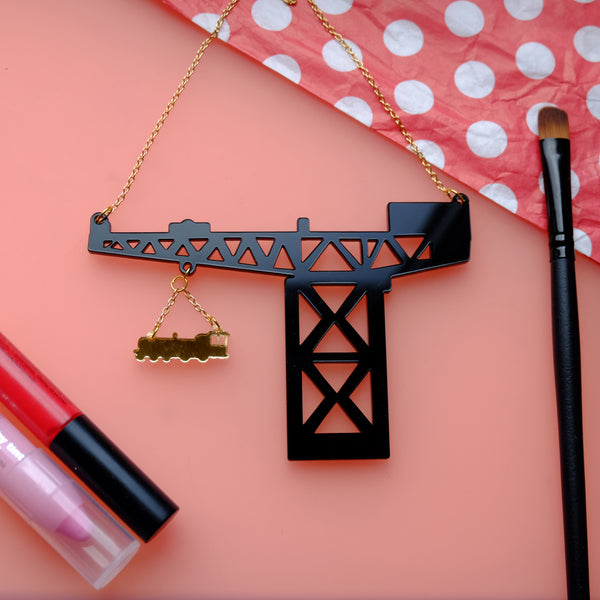 George Wyllie Locomotive Train and Finnieston Cran Statement Necklace