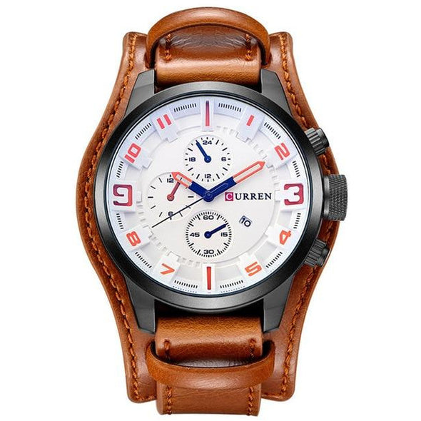 Leather Wide-Band Wrist Watch - Novel Luxury - A men's accessory company