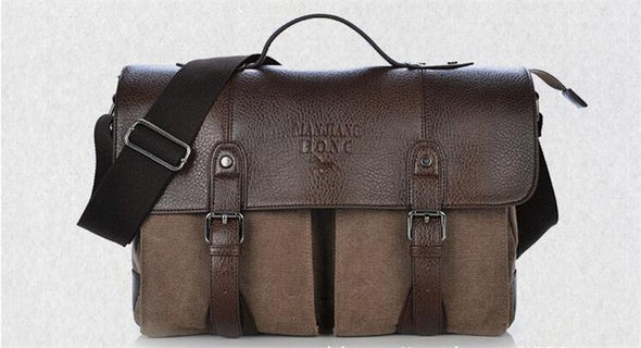 Canvas Leather Men's Briefcase - Novel Luxury - A men's accessory company