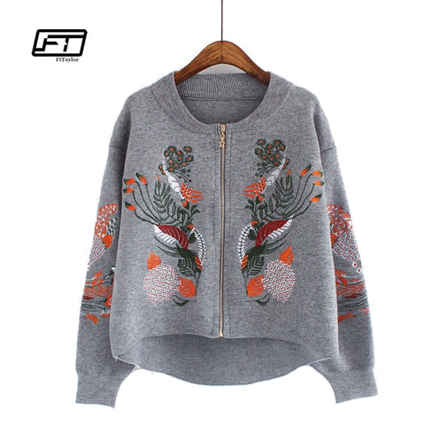 Fitaylor Spring Autumn Cardigan Coat Embrodiery Floral Casual Jacket
