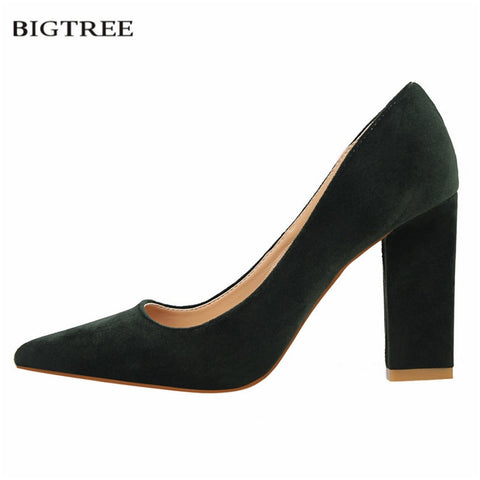 BIGTREE Single Pumps Women Fashion Thick High Heels Shoes Shallow Pointed