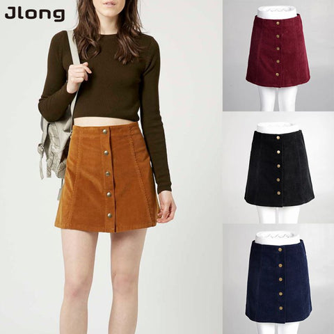 Vintage A-Line High Waist Bodycon Button Short Mini Female Skirts